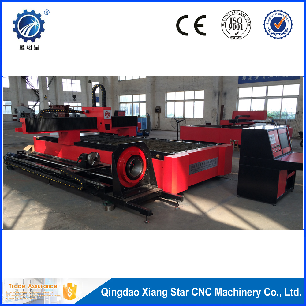 Fiber laser cutting machine integration of plate and pipe cutting